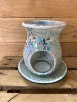 Blue crackle candle plate and wax warmer