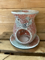 Coral and Silver plate and wax warmer